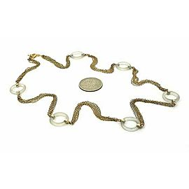 Estate Camphor Glass Ring Station Multi-Chain 14k Gold Necklace