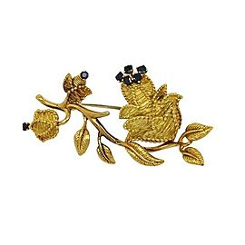 Tiffany & Co. 18k Yellow Gold Sapphire Floral Pin