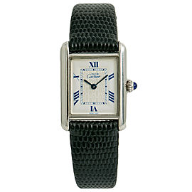 Cartier Tank Vermeil 2416 Women Quartz Watch Silver 925 White Dial 22mm