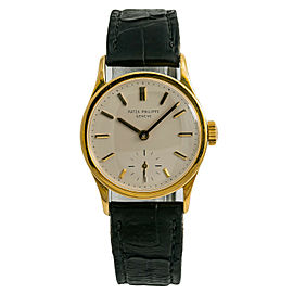 Patek Philippe Calatrava 96 J Mens Vintage Hand Winding Watch 18K YG 31mm