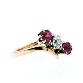 Estate 14k Rose gold Ruby Diamond Ladies Ring 3.1 Grams Size 4.5