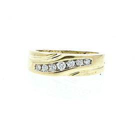 Estate 10k Yellow gold .35ct Round Diamonds Men's Ring Size 7.75