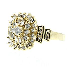 Estate 14k Yellow gold Round Baguetts Diamonds Ladies Ring Size 9