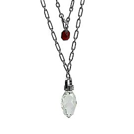 BACCARAT JEWELRY BOUCHONS DE CARAFE STERLING SILVER LARGE NECKLACE CLEAR PENDANT
