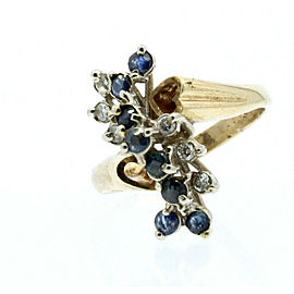 Estate 14k Yellow White gold Sapphire Diamonds Cluster Heart Ladies Ring Size 6