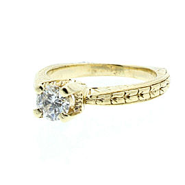Estate 14k Yellow gold .40ct Round Diamond Solitaire Ladies Ring Size 4.5