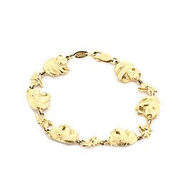14k Yellow Gold Panda & Bamboo Stack Fancy Link Bracelet