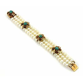 Estate Triple Strand Pearls Green Agate 14k Yellow Gold Bracelet