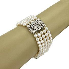 Estate Diamonds Multi-Strand 18k White Gold Wide Pearl Fancy Bracelet