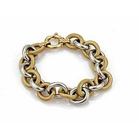 Fancy Oval Link Chain 14k Yellow & White Gold Bracelet