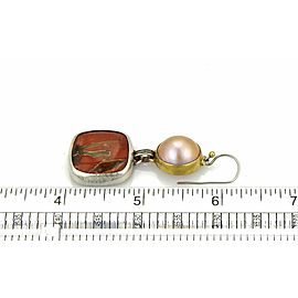 Gurhan Red Agate Mobe Pearl Sterling & 24k Gold Earrings