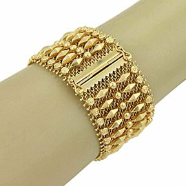 Corletto Desginer 18k Yellow Gold 35mm Wide Floral Design Flexible Mesh Bracelet