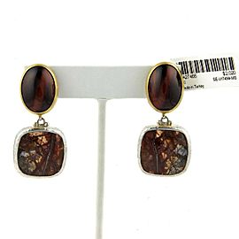 Gurhan One of a Kind Tiger's Eye & Jasper Sterling 24k Gold Earrings
