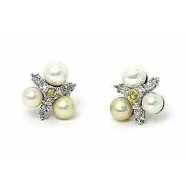 Diamond & Pearls 14k White Gold Floral Stud Earrings