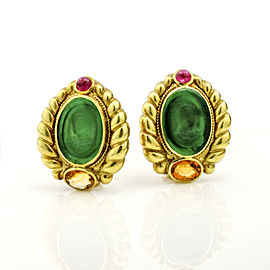 18k Yellow Gold Carved Green Glass Tourmaline Citrine Intaglio Stud Earrings
