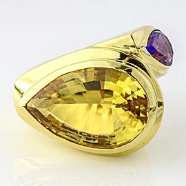 18k Yellow Gold Citrine Amethyst Fashion Statement Ring