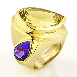 18k Yellow Gold Citrine Amethyst Fashion Statement Ring