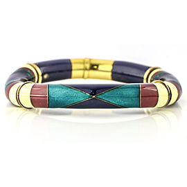 La Nouvelle Bague 18k Gold Sterling Silver Enamel Bangle Bracelet