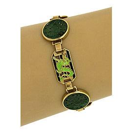 Vintage 14k Yellow Gold Carved Jade & Enamel Fancy Link Bracelet