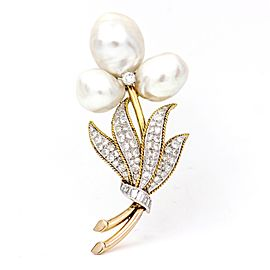 14k Yellow Gold Pearl and Diamond Flower Brooch Signed