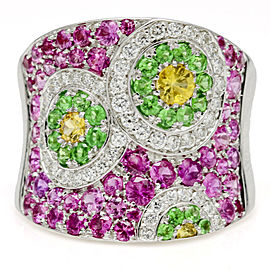 3.00 Carat Cellini 18k Gold Gemstone and Diamond Concave Band Ring