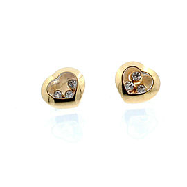 CHOPARD HAPPY DIAMOND HEART EARRINGS 18K ROSE GOLD 3 DIAMOND ICONS EAR PINS