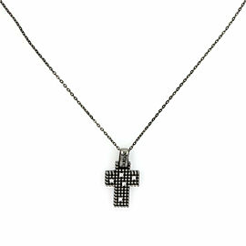 Damiani Diamond Black Gold Cross Pendant & Chain