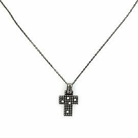 Damiani Diamond Black Gold Cross Pendant & Chain