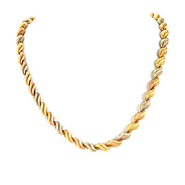 Chiampesan Fancy S Link 18k Tri-Color Gold Necklace
