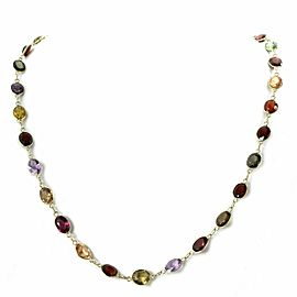 Multicolor Gemstone 14k Yellow Gold Oval Link Necklace