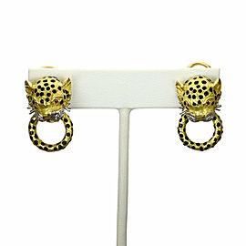Estate Diamond & Ruby Enamel 18k Gold Leopard Door Knockers Post Clip Earrings
