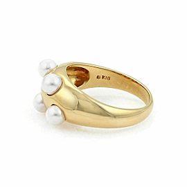 Mikimoto 5 Akoya Pearls 18k Yellow Gold Dome Band Ring