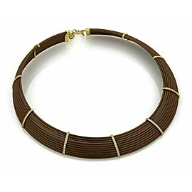 Roberto Coin Diamond 18k Yellow Gold & Polyurethane Choker Necklace