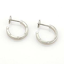 Chanel 18k White Gold Signature Logo Hoop Earrings