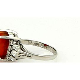 Solid Platinum 5.50ct Orange Opal & Diamond Solitaire Ring