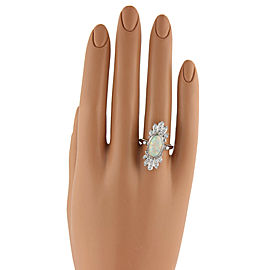 Diamond & Fire Opal 14k White Gold Ring
