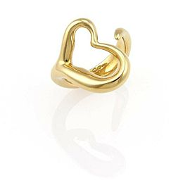 Tiffany & Co. Peretti Open Heart 18k Yellow Gold Curved Band Ring Size 5