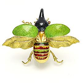 Gucci 18k Yellow Gold Ruby Enamel Scarab Beetle Brooch