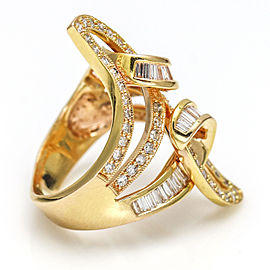 1.50 Carat 18k Rose Gold Elongated Swirl Diamond Fashion Ring