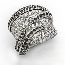 3.92 Carat 18k Gold Black and White Diamond Band Ring