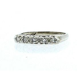 Vintage 14k White Gold .15ct Diamond Ladies Ring Band Size 7.5