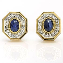1.00 Carat 14k Yellow Gold Blue Sapphire Diamond Octagon Shaped Stud Earrings