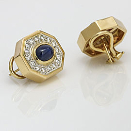 1.00 Carat 14k Yellow Gold Blue Sapphire Diamond Octagon Shaped Stud Earrings