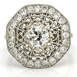 2.52 Carat Platinum Diamond Art Deco Octagon Engagement Ring