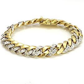 4.00 Carats Brasolin 18k Yellow Gold Italian Diamond Cuban Link Bracelet