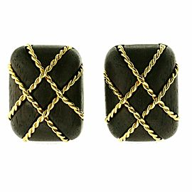 Auth Seaman Schepps 18K Yellow Gold Wood Cage Earrings U522
