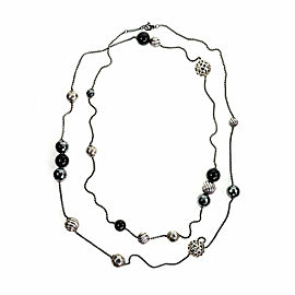 David Yurman Elements Onyx Hematite Sterling Assorted Style Ball Long Necklace
