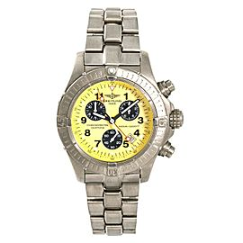 Breitling Avenger M1 E73360 Yellow Mens Quartz Watch Chronograph Titanium 44mm
