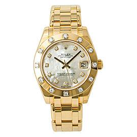 Rolex Datejust Pearlmaster 81318 Factory Diamond MOP Watch 34mm