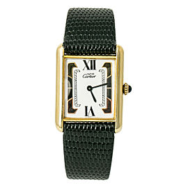 Cartier Must De Tank Vermeil Lady Hand Wind Watch 925 Silver Tri Color Dial 24mm